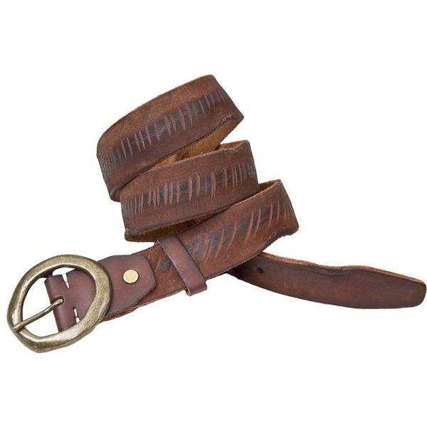 NEW Wombat Rugged Range Mens Burdundy Distressed Leather Belt
