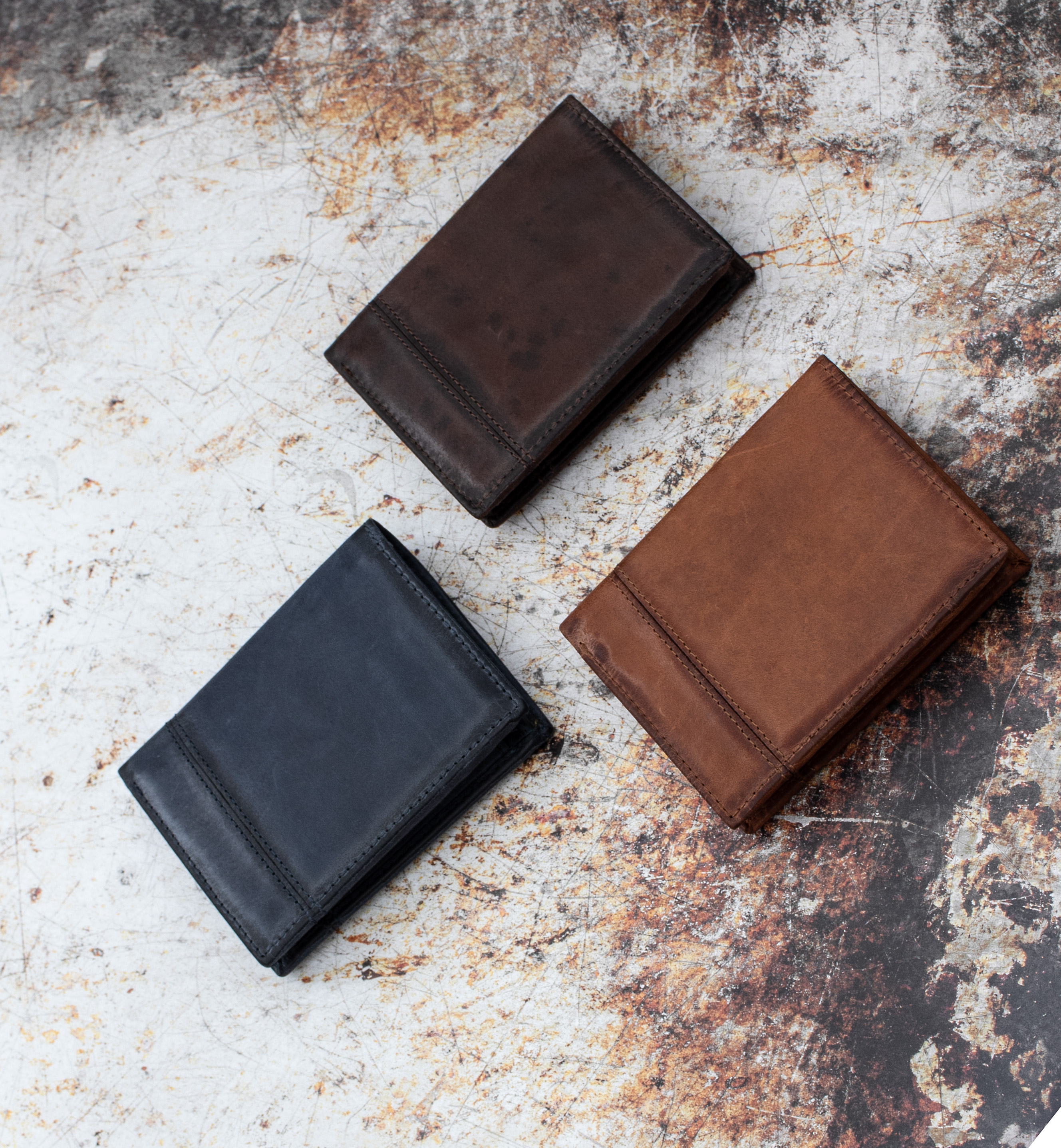 Bernie Rugged Leather Wallets